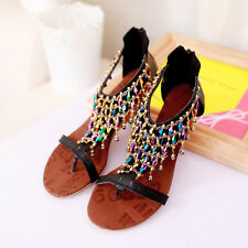 New Womens Roman Wedges Synthetic Leather Rosary Thong Sandals High Heels Shoes