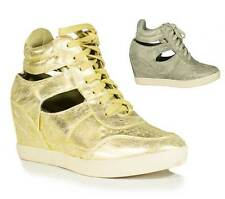 Womens Gold Fashion Side Cut-Out Lace Up Sneaker Wedge Soda Shoes Garia-S