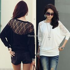 Womens Ladies Laced Long Sleeve Loose T Shirt Blouse Sexy Batwing Top Lace C1MY