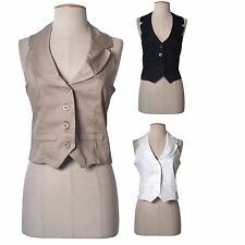 Women Sexy Classic Haltered Open Back Button Down Cropped Vest Top Shirt Cotton