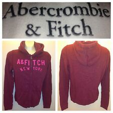 NWT ABERCROMBIE & FITCH WOMENS FLEECE HOODIES JACKET SIZE XS,S,M,L A&F burgundy