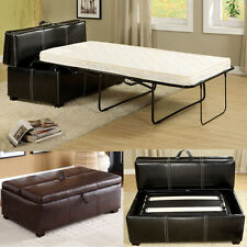 Black Brown Leatherette Storage Ottoman Bench Twin Foldable Bed Sleeper Mattress