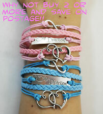 ONE DIRECTION SILVER & BRONZE INFINITY & LOVE BRAIDED LEATHER BRACELETS
