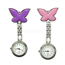 2 Colors Cute Butterfly Mental Nurse Clip-on Brooch Pendant Hanging Pocket Watch
