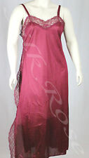WOMENS PLUS SIZE SLEEPWEAR LONG BURGUNDY NIGHTIE WITH LACE TRIM