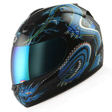 NEW Motorcycle Street Bike Adult Full Face Helmet Blue Dragon Black S M L XL
