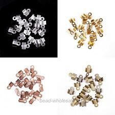 200pcs Fold Over End Cord Findings/Crimp End Beads For Jewelry Making 6x3mm