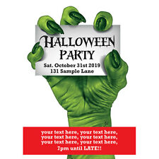 Personalised Halloween Party Invitations green creepy claw with free envelopes