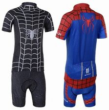 "New ""Spider-Man"" Kids Cycling Short Sleeve Jersey + BIB Shorts With 3D Padded"