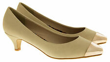 Ladies Stylish Begie Nude Fashion Low Mid Heels Womens Work Court Shoes Size 3