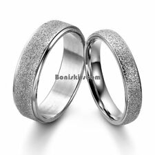 Silver Frosted Center Stainless Steel Dome Engagement Ring Couples Wedding Band