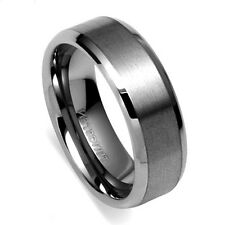 Tungsten All Size Mens Carbide 8MM Silver Wedding Band Ring Never Tarnish M47