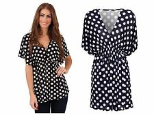 Womens Polka Dot V Neck Short Sleeved Blouse Stretch Summer Top Ladies UK 8-16