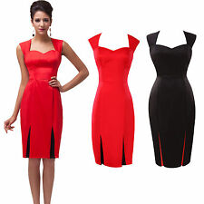 2014 Vintage 50er 60er Jahre Büro Pinup Slim Fit Tea Dress Kurze Bleistift-Kleid