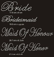 DIY BRIDE Wedding Rhinestones Iron on Transfer Crystal Bling Motif Hens Party