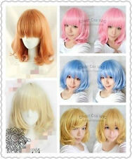 New Medium FIVE color Mix Curly Cosplay BOB Wavy Wig +free gift