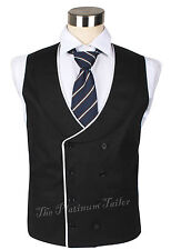 New Mens Double Breasted Cotton Linen Waistcoat Piped Edge Shawl Lapel Formal