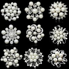 NEW Rhinestone Crystal Wedding Bridal Bouquet Silver Flower Pearl Brooch Pin
