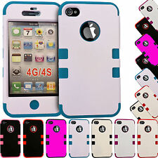 SHOCK PROOF HYBRID HARD & SOFT AROMOUR SILICONE CASE COVER FOR APPLE IPHONE 4/4S