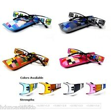 Trendy Colorful Spring Hinges Reading Glasses w/ Pouch  x 4 Colors x 5 Strengths