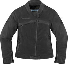 ICON 1000 HELLA LEATHER MOTORCYCLE STREET RIDING JACKET WOMENS BLACK LADIES 2014