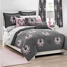NEW BONE COLLECTOR Pink and Grey Bedding Comforter and Sham Set NO SHEETS