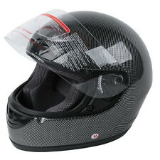 NEW BLACK CARBON FIBER FULL FACE MOTORCYCLE HELMET STREET DOT APPROVED M/L/XL