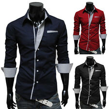 Men's Fashion Slim Fit Tee Tops Cotton Long Sleeve Blouse Casual T-Shirts NEW