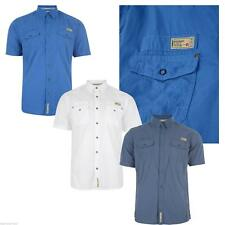 New Mens Coloured Shirt Casual Short Sleeve Blue & White Top Dissident Vantage