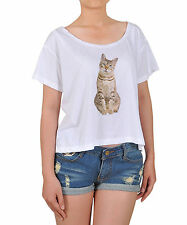 I Love Animal Lovely Cat Printed 100% Cotton White Crop-top T-shirt