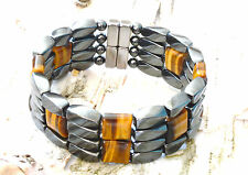 Men's Magnetic Hematite TIGER EYE Bracelet 4 row 20,000 gauss Clasp