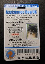 United Kingdom Assistance Dog ID Badge Great Britain British Service dog ID Card
