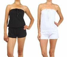 Women Solid Casual Strapless Short Romper Jumpsuit with Drawstring Tube Top