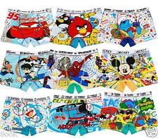 4PCS Cute Cartoon Cotton Boxer Briefs Underwear Underpant for Boys Kids Age: 2-9
