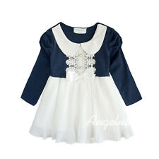 Baby Girls Long Sleeve Bodysuit Peter Pan Collar Dress Navy/White Size 0/1/2