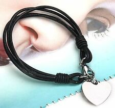 WOMENS LEATHER BRACELET ENGRAVED PERSONALISED HEART TAG CHARM FREE GIFT BOX