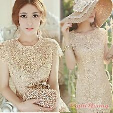 Elegant Womens Floral Crochet Lace Beaded Bridesmaid Club Party Mini Dress Gown