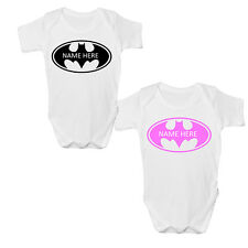 CUTE PERSONALISED BATMAN YOUR NAME BABY VEST  BODY GROW SUIT BOY FUNNY GIFT IDEA