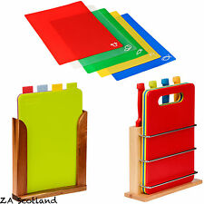 Colour Coded Indexed Coloured Chopping Boards Wooden Stand Kitchen Utensil Set