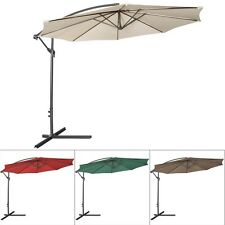 10ft Outdoor Patio Sun Shade Umbrella Hanging Offset Crank W/ Corss Base Garden