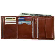 Leather Bi fold Clutch Wallet Multi Card Slots Italian Leather by Tony Perotti