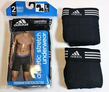 New Men adidas Climalite Athletic Stretch 2-Pack Black Boxer Brief Underwear