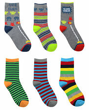 METZUYAN Boys Cotton Rich Design Socks 3 Pack Fun Funky Colourful Bright