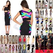 Many Color Women Bodycon Stretch Party Clubwear Dresses Cocktail Print Dress SML