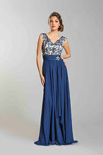 Long Simple V Neck Sleeveless Lace Detail Modest A Line Prom Mother Of The Bride