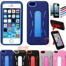 For Apple iPhone 5s / 5 High Impact Armor Rugged Rubber Kickstand Case Cover