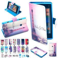 New Flip Paint Leather Wallet Phone Pouch Case Cover Stand For NOKIA Lumia 520