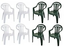 Set Of 4 Plastic Garden Patio Chair Low Back Stacking Armchair Green & White New