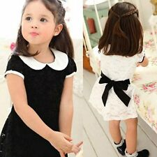 Baby Kid Girls Full Lace Princess Dress Casual Ladies Child Bow Tie Skirts 2-7Y