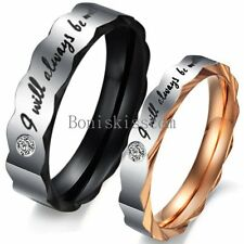 "Stainless Steel "" I Will Always Be with You "" Couples Promise Ring Wedding Band"